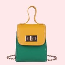 Colorblock Chain Satchel Bag