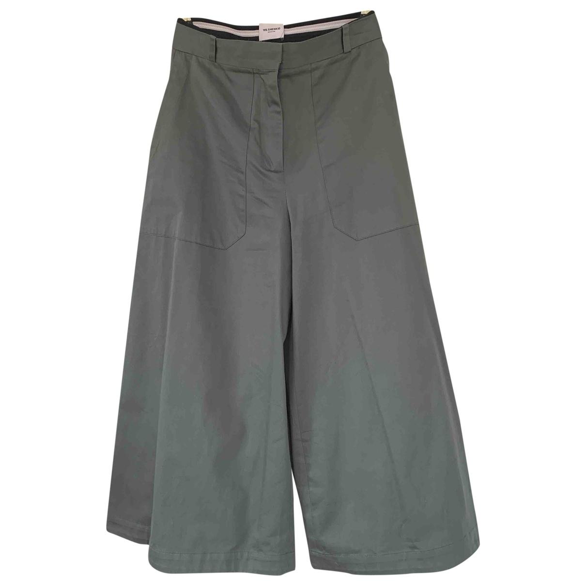Vilshenko \N Khaki Cotton Trousers for Women 40 IT