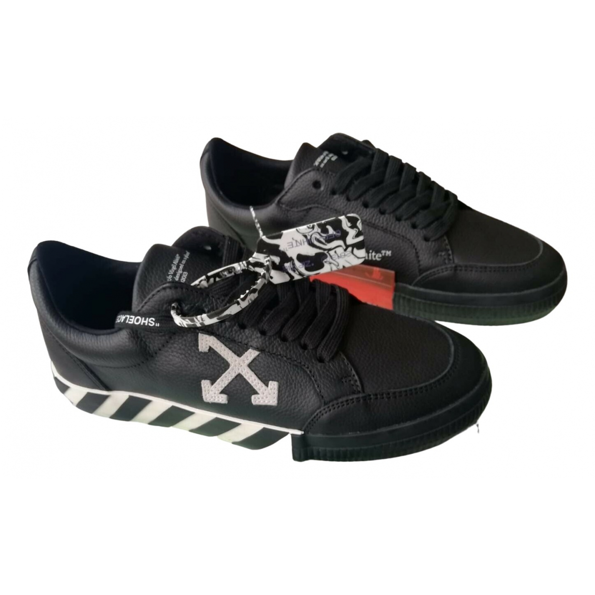 Off-white Vulc Black Leather Trainers for Men 42 EU