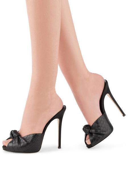 Milanoo High Heel Sandals Women Peep Toe Twisted Stone Pattern Backless Sandal Slippers
