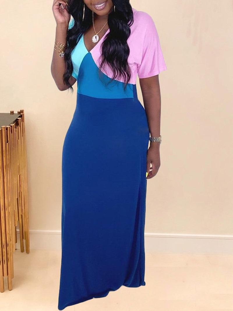 Ericdress Short Sleeve V-Neck Floor-Length Color Block Casual Dress