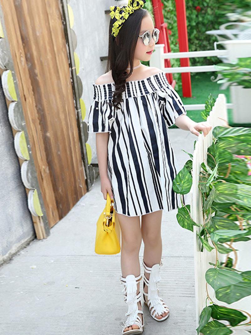 Ericdress Slash Neck Stripe Short Sleeve Girls Dress