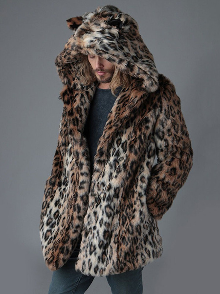 Milanoo Men\'s Faux Fur Coats Leopard Animal Print Hooded Overcoats