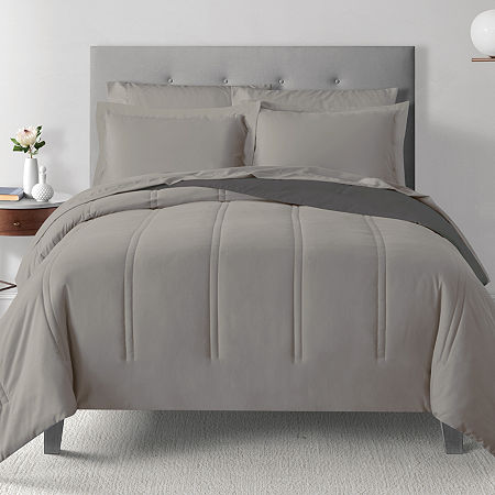Microfiber Anti Bacterial Polygiene Reversible Comforter Set, One Size , Gray