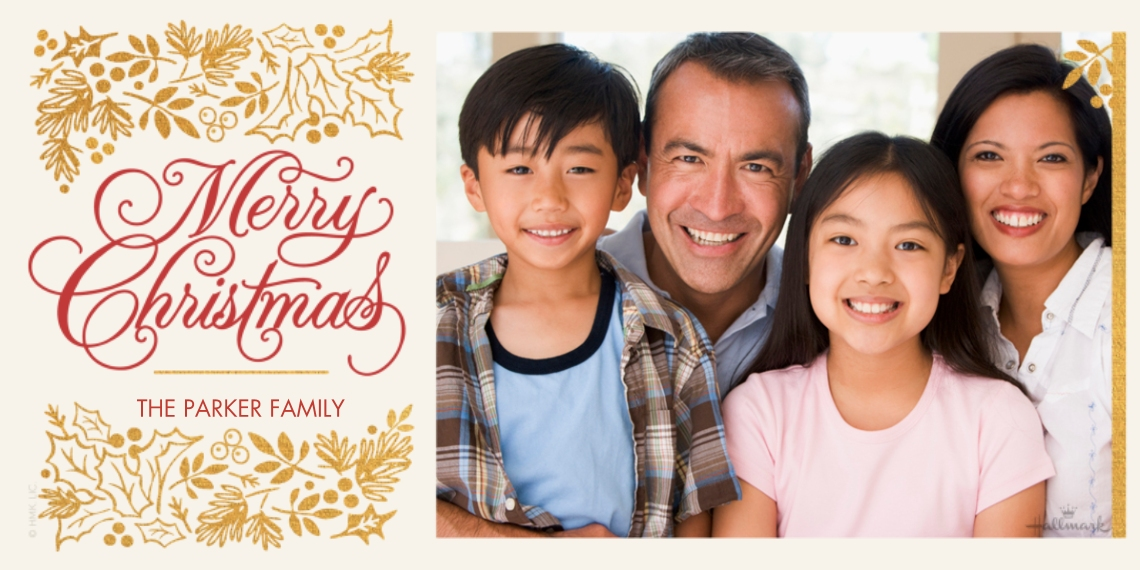 Christmas Photo Cards Flat Glossy Photo Paper Cards with Envelopes, 4x8, Card & Stationery -Elegant Christmas and Holly