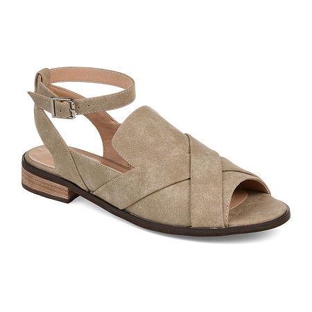 Journee Collection Womens Suzy Peep Toe Slip-On Shoe, 7 1/2 Medium, Beige