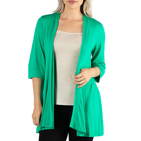 24/7 Comfort Apparel Open Front 3/4 Length Sleeve Cardigan, Small , Green