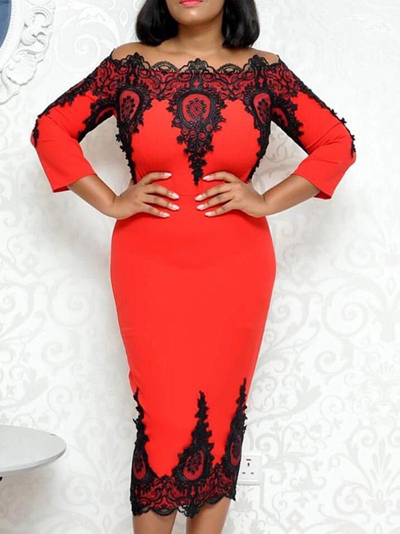 Ericdress Three-Quarter Sleeve Patchwork Mid-Calf Color Block Office Lady Dress
