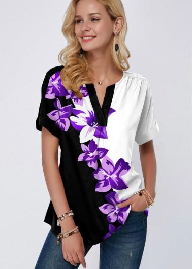 Split Neck Short Sleeve Floral Print Blouse - L