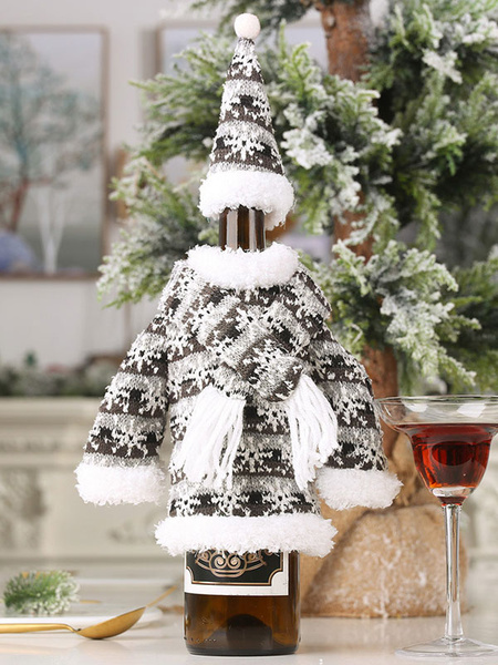 Milanoo Christmas Bottle Cover Snowflake Knit Party Decoration