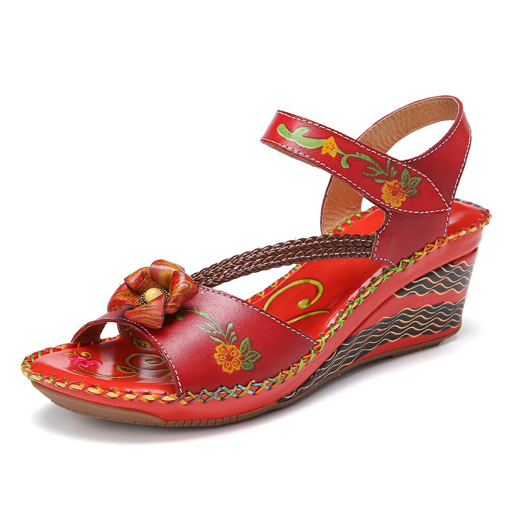 SOCOFY Bohemian Handmade Leather Floral Hook Loop Strap Stitching Vintage Wedge Sandals