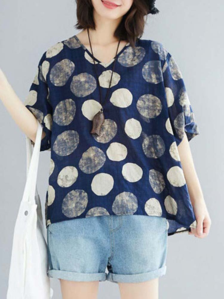 Polka Dot Print Short Sleeve Loose Blouse
