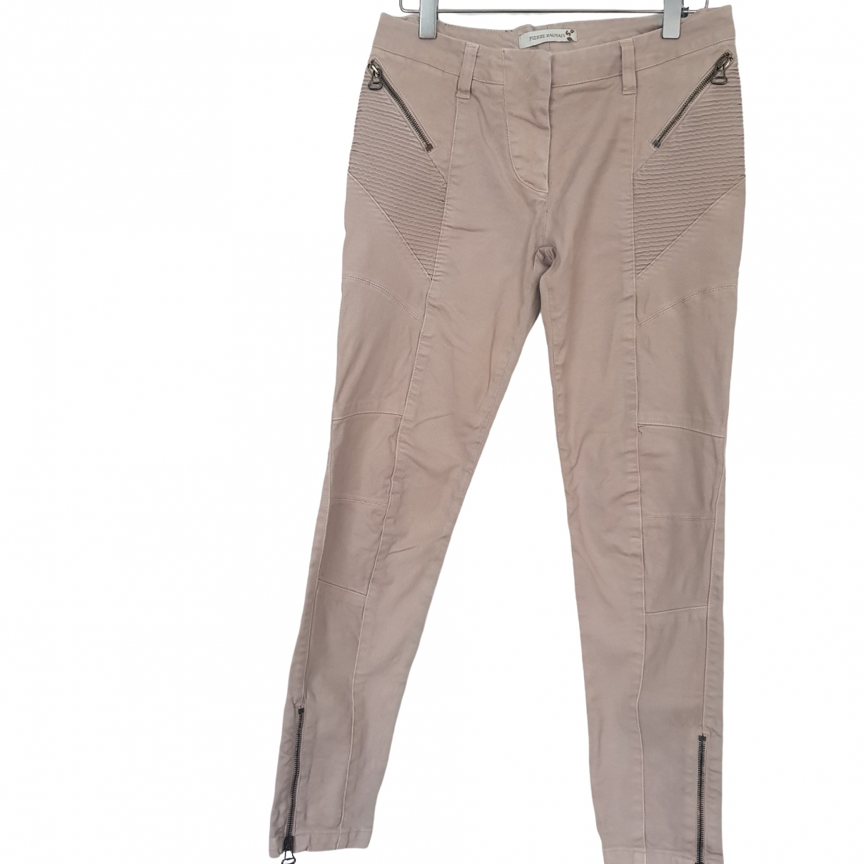 Pierre Balmain \N Beige Cotton Trousers for Women 40 FR