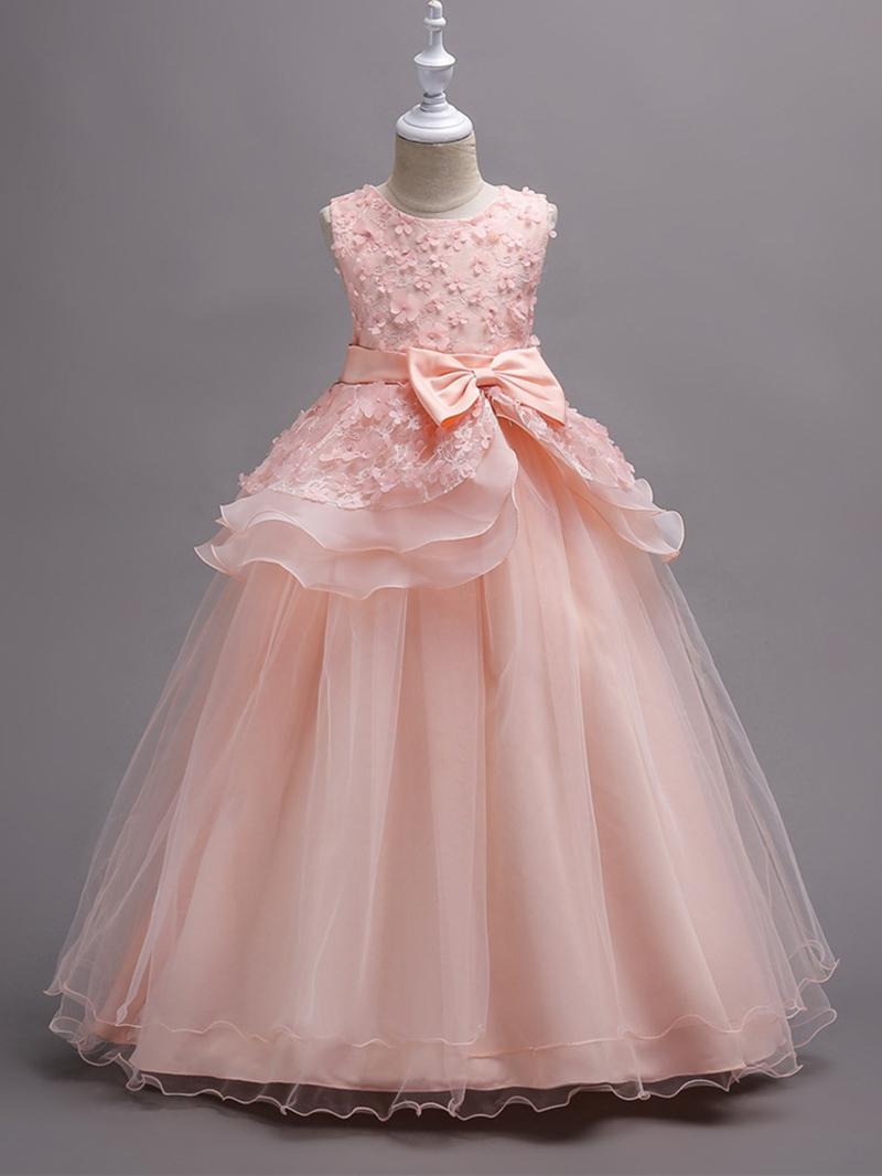 Ericdress Appliques Mesh Patchwork Floor-Length Girl's Dress