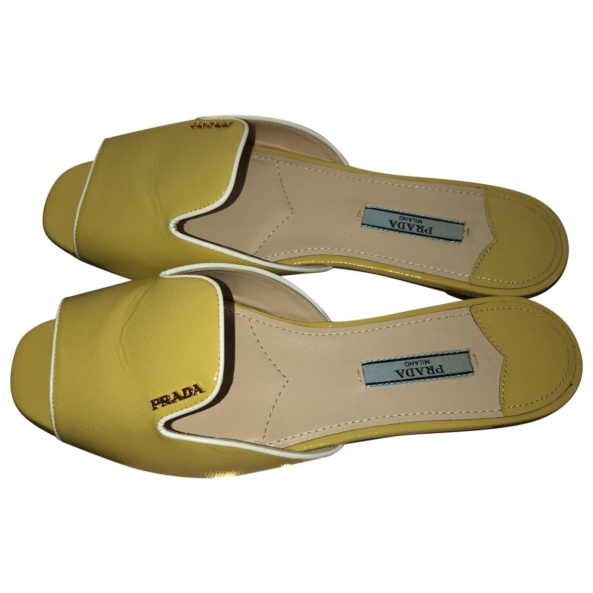 Prada \N Yellow Patent leather Sandals for Women 36 EU