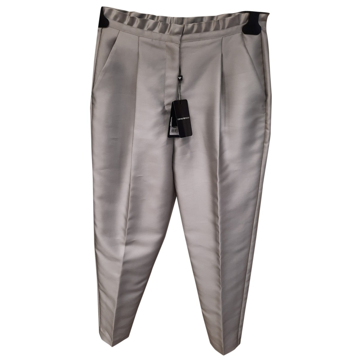 Emporio Armani \N Silver Trousers for Women 42 IT