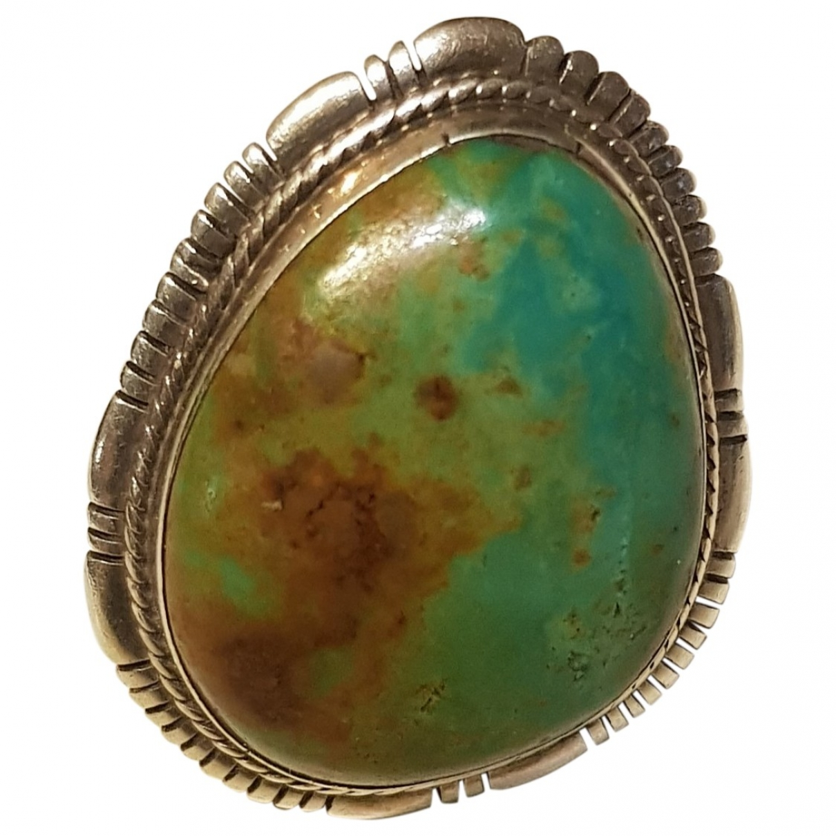Non Signé / Unsigned Turquoises Green Silver ring for Women \N