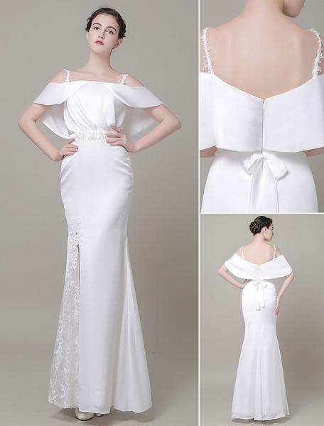 Milanoo High-Low Wedding Dress Lace Illusion Neckline Bridal Running Dress Tulle Prom Dress