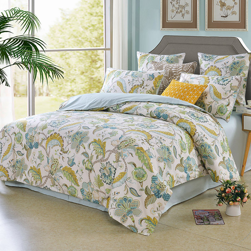 2 Pillowcases Reactive Printing Four-Piece Set Duvet Cover Set Polyester Bedding Sets Fitted Sheet
