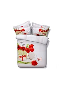 Red Tulips Printed 4-Piece White 3D Bedding Sets/Duvet Covers