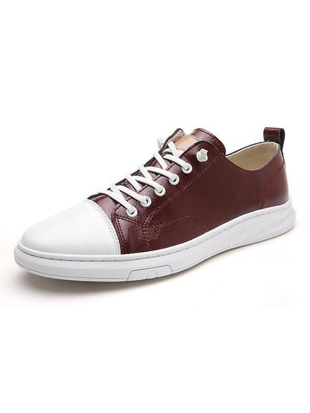 Milanoo Sneakers For Men Cosy Cowhide Round Toe Color Vlock Black White Men\'s Shoes