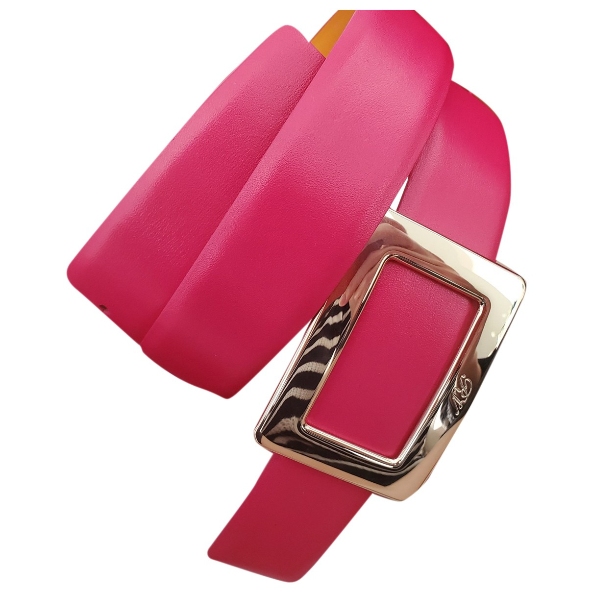 Roger Vivier Pilgrim Pink Leather belt for Women 75 cm