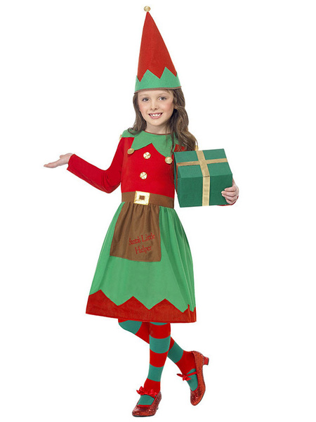 Milanoo Christmas Elf Costume Kids Little Girls Dresses And Hat 2 Piece Set Halloween