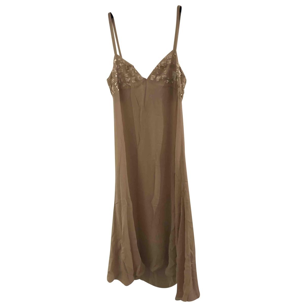 Non Signé / Unsigned \N Beige Silk dress for Women 46 IT