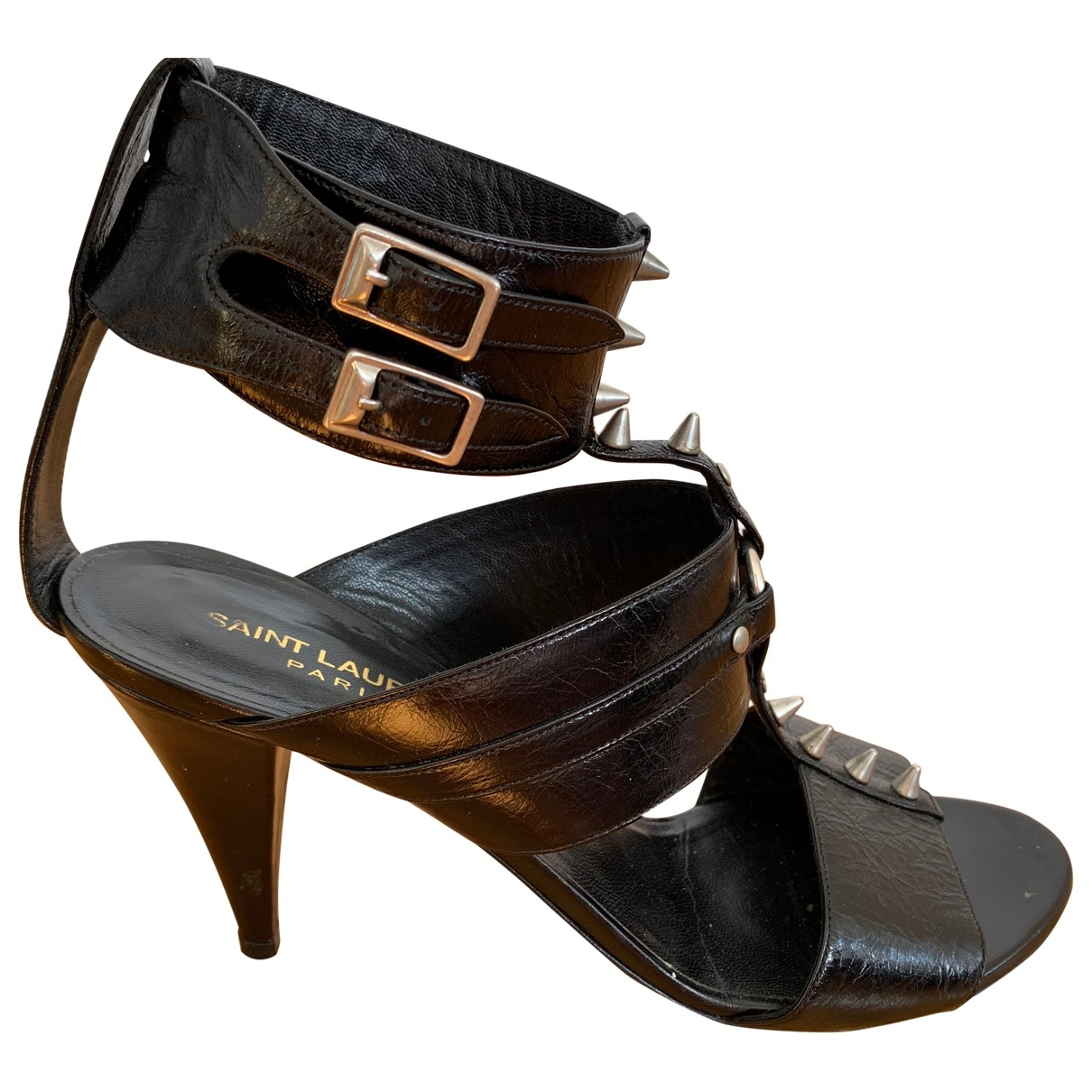 Saint Laurent \N Black Leather Sandals for Women 39 EU