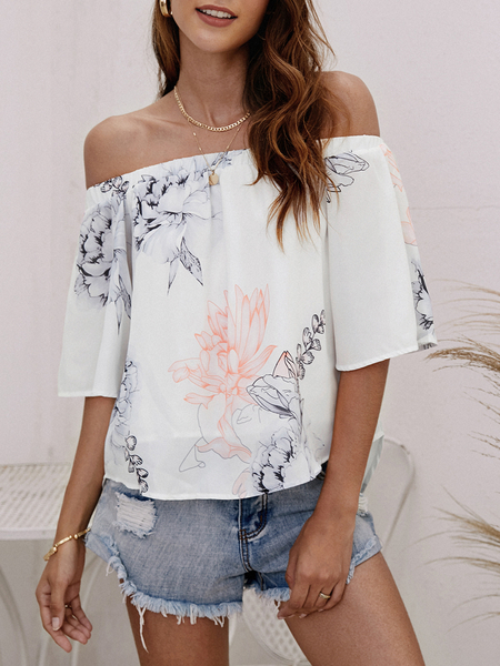 Yoins Random Floral Print Elastic Off Shoulder Chiffon Blouse in White