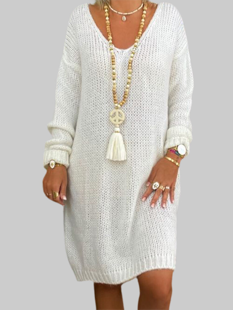 Solid Color Loose V-neck Long Sleeve Casual Sweater Dress For Women