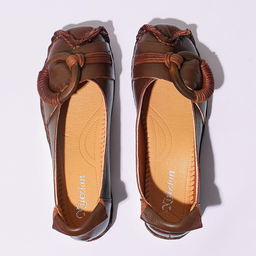 Metal Decoration Handmade Stitching Soft Sole Flat Loafers