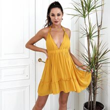 HouseOfChic Plunging Neck Tied Backless Ruffle Hem Dress