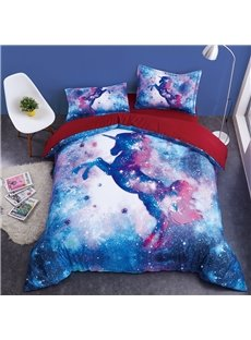Jumping Unicorn and Galaxy Printing Cotton 4-Piece 3D Bedding Sets/Duvet Covers
