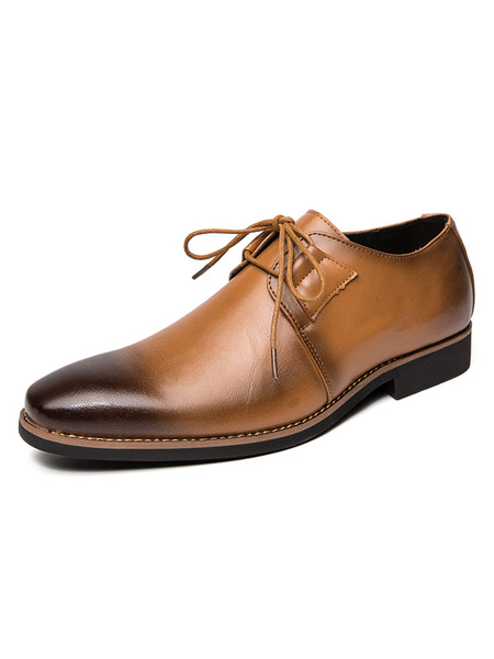 Milanoo Dress Shoes For Men Stylish Round Toe Lace Up PU Leather Chic Shoes