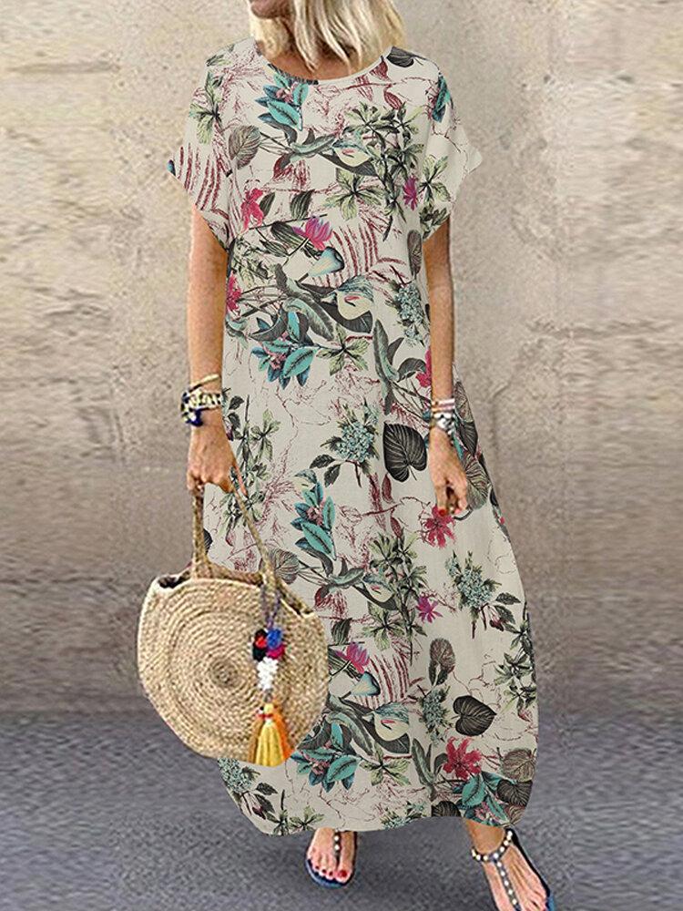 Vintage Floral Print Short Sleeve Baggy Plus Size Maxi Dress