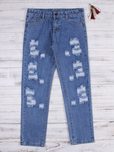 Yoins Blue Random Ripped Details Mid Waist Jeans