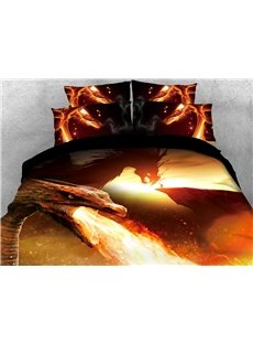 A Dragon Breathing Fire 3D Printed 4-Piece Polyester Bedding Sets/Duvet Covers