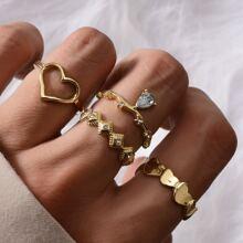 4pcs Rhinestone & Heart Decor Ring