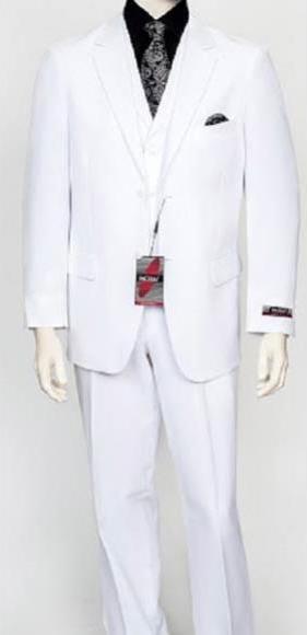 Men's White 3Piece Poly Poplin Fabric Vest Dress Suit Wth Pleated Pant