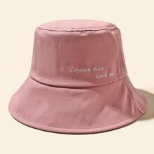 Slogan Embroidery Bucket Hat