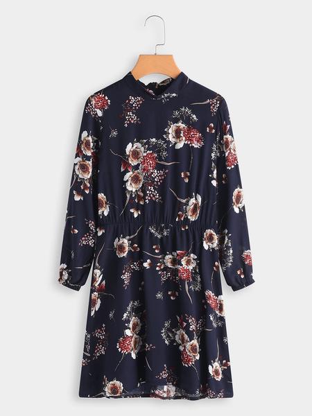 Yoins Navy Random Floral Print Long Sleeves Mini Dress