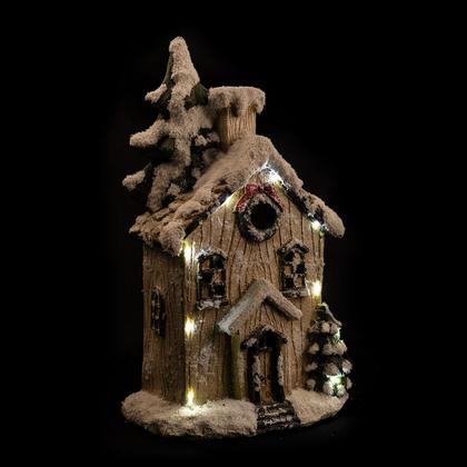 Maison LED avec neige et guirlande de Noël, 12.6''x7.9''x21.28 ''