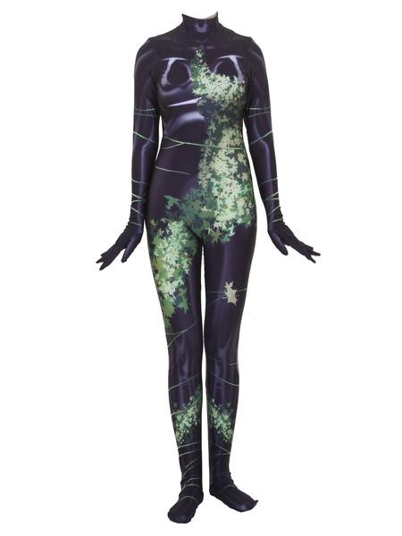 Milanoo DC Comics Poison Ivy Lycra Spandex Zentai Halloween Cosplay Costume Jumpsuits