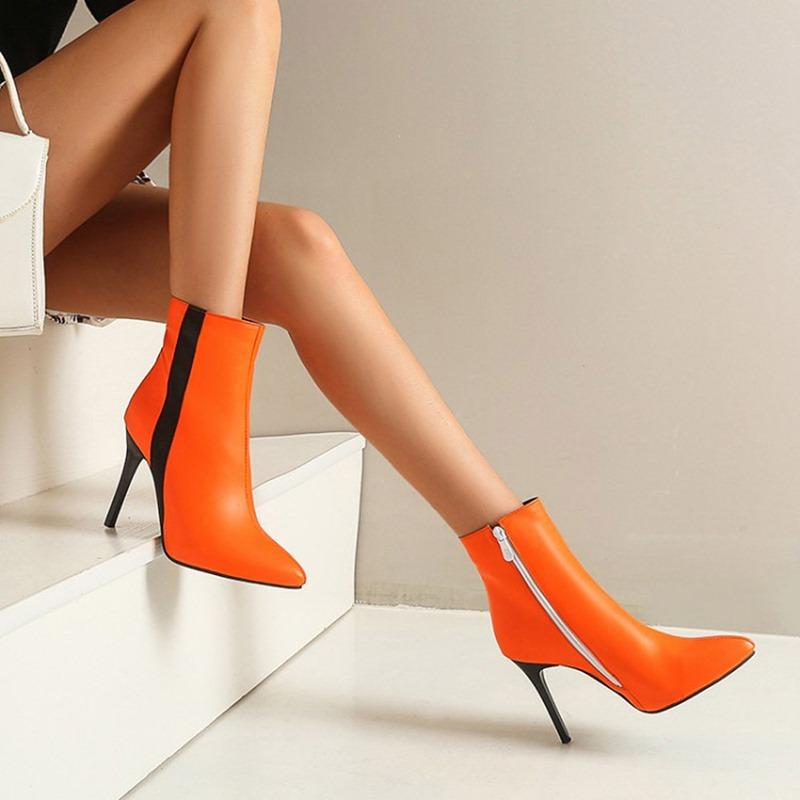 Ericdress Plain Pointed Toe Stiletto Heel Zipper Boots