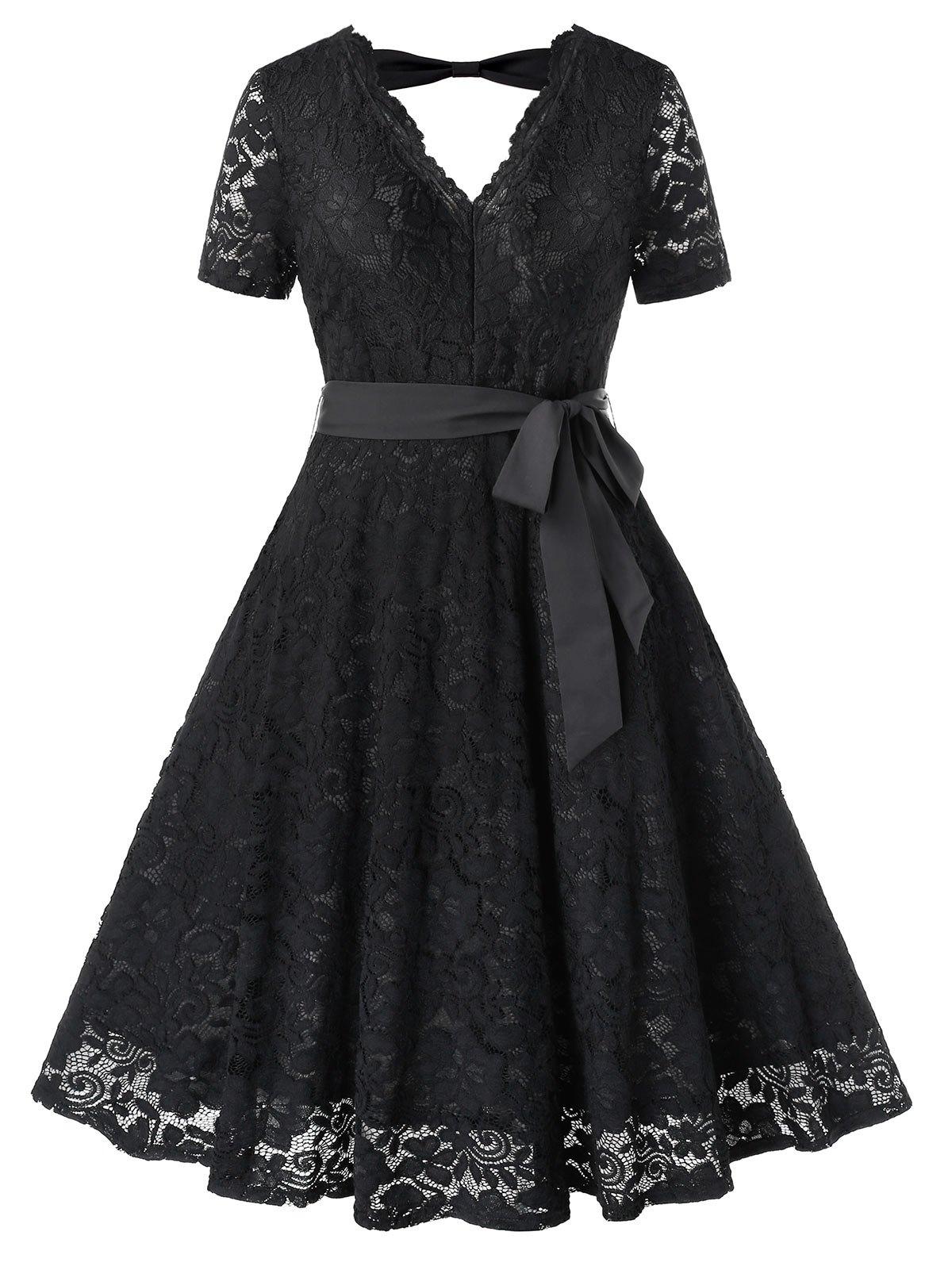 Plus Size Cut Out Lace Midi Evening Dress