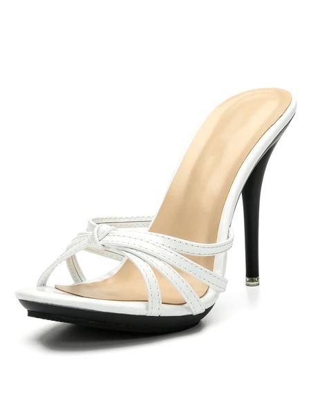 Milanoo High Heel Sandals Black Open Toe Cut Out Backless Sandal Slippers Women Slide Sandals
