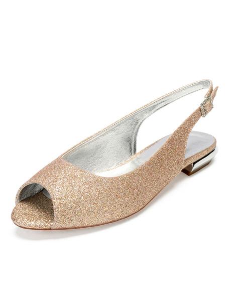 Milanoo Black Mother Shoes Glitter Peep Toe Slingbacks Wedding Flats Women Party Shoes