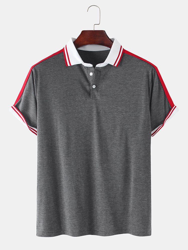 Mens Plain Casual Short Sleeves Polo Shirt With Contrast Ribbed Trims