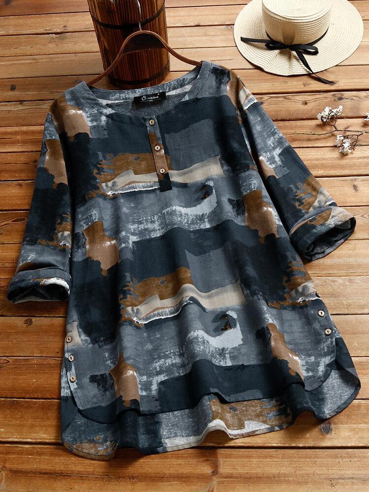 Vintage Print Long Sleeve Plus Size Blouse for Women